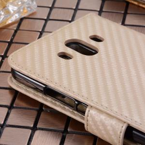 Carbon Fiber Pattern Flip PU Leather Wallet Case for Huawei Mate 10 -