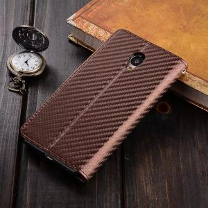 Carbon Fiber Pattern Flip PU Leather Wallet Case for Meizu M5S -