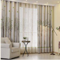 Shaded Cloth Curtains With Bird Cages -