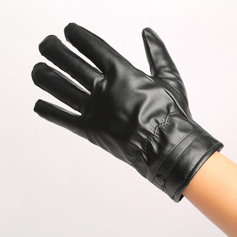 Chic Warm Touch Glove Touch Screen Glove with Thick Cashmere Autumn and Winter Men'S Touch Screen PU Gloves