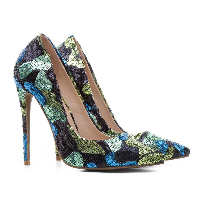Latest Women'S Shoes Pointed Toe Pump Sequin Customized Materials Stiletto Heel