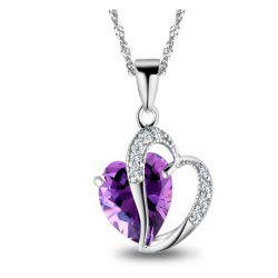 Sterling Silver Faux Crystal Gemstone Amethyst Heart Pendant Necklace -