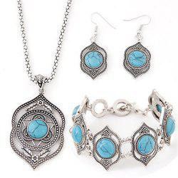 New Trendy fashion charm Retro Style Hollow Tibetan Sliver Green Rimous Turquoise Bib Collar Earrings Necklace bracelets -