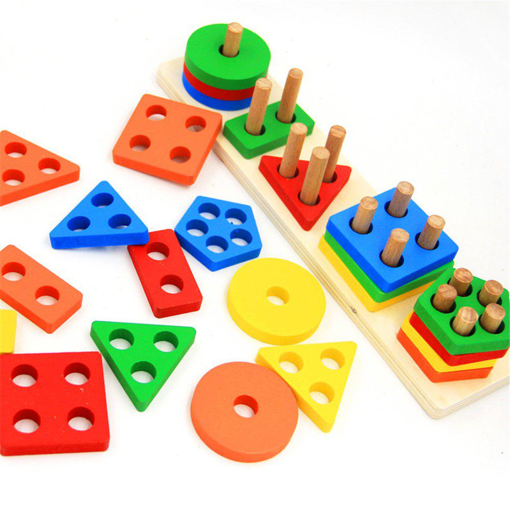 Image of Colorful Wooden Geometric Sorting Board Toy