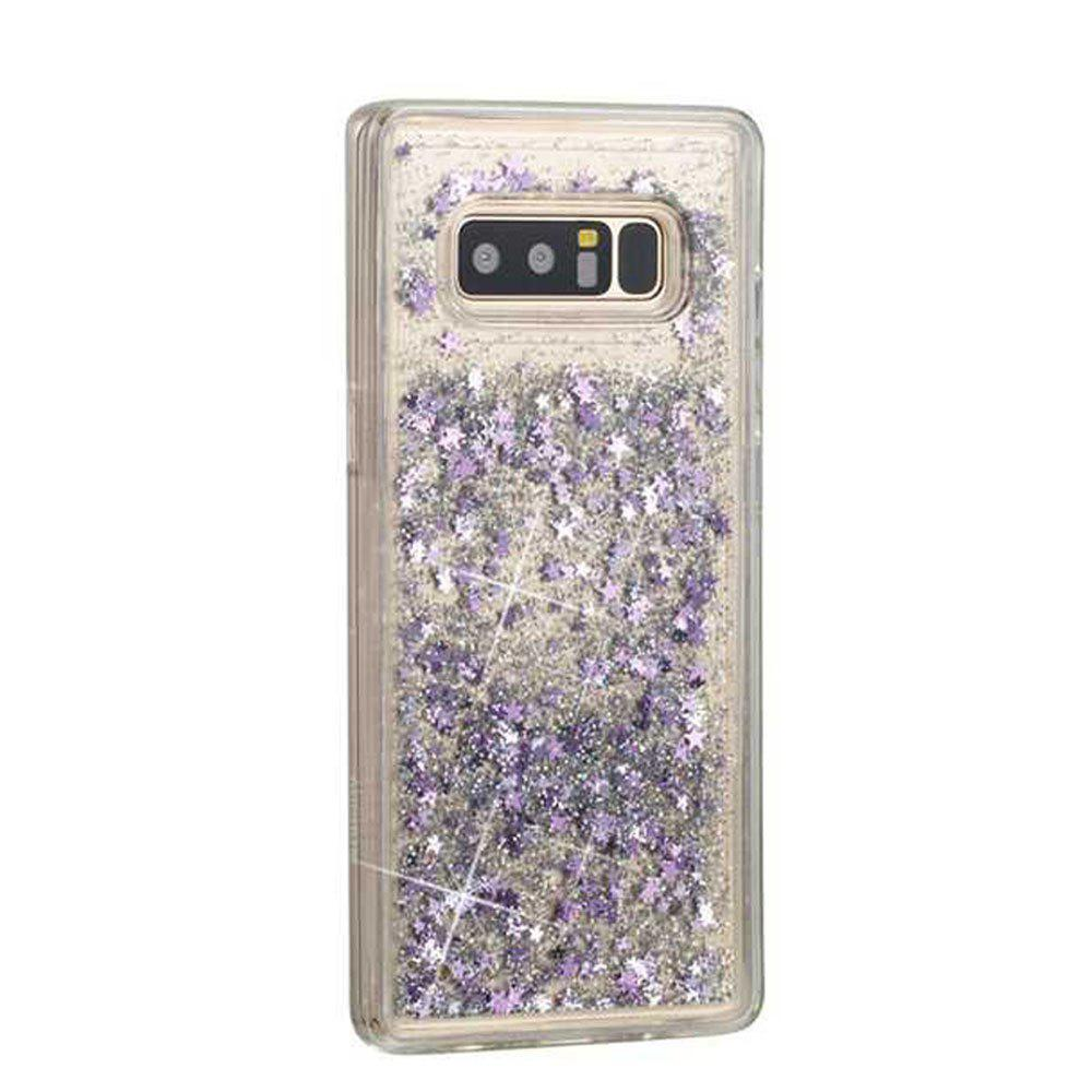 Hot Silver Sand Purple Five-Pointed Star Liquid TPU Sand Case for Samsung Galaxy Note 8