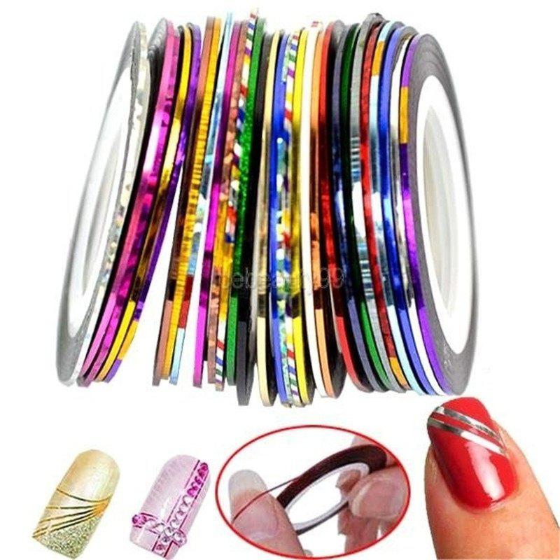 Affordable New Fashion Nail Art Decoration Sticker Mixed Colors Rolls Nail Strip Tape Line (Color: Multicolor)