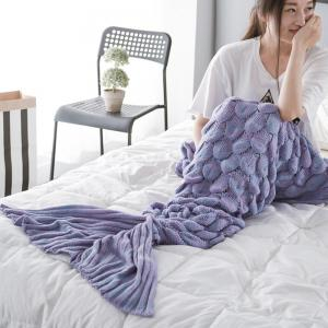 New Products Knitted Fish Scales Design Mermaid Tail Knitted Blankets -