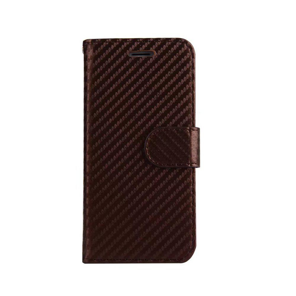 Outfits Carbon Fiber Pattern Flip PU Leather Wallet Case for iPhone 8 Plus