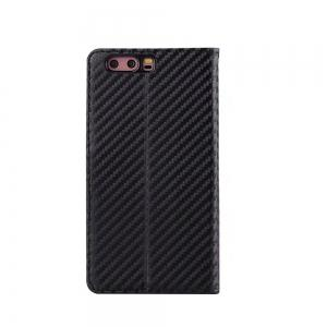 Carbon Fiber Pattern Flip PU Leather Wallet Case for Huawei P10 -
