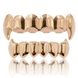 Hip Hop 18K Gold Color Plated Fangs Teeth Grillz -