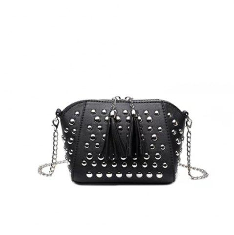 New Punk Black Studded Flap Crossbody Bag