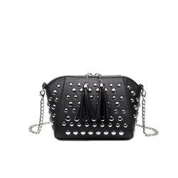 Punk Black Studded Flap Crossbody Bag -
