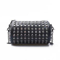 Punk Circular Black Studded Flap Crossbody Bag -
