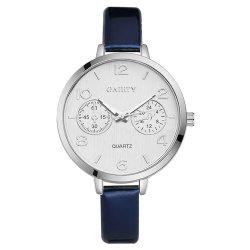 GAIETY G202 Fashion Women's Leather Silver Dial Dress Watch -
