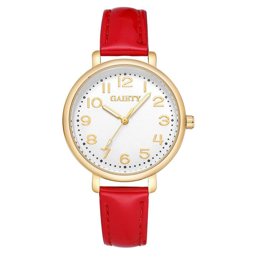Best GAIETY  G144 Ladies Fashion Arabic Numbers Leather Wrist Watch
