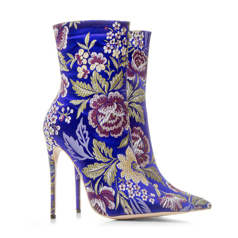Latest Women's Shoes Fall Winter Fashion Boots Stiletto Heel Pointed Toe Booties Ankle Boots Stitching Lace