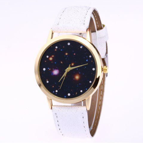 White New Trend Gold Dial Silver Leather Leather Star Map Quartz - Star map watch