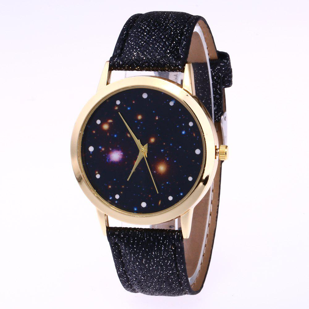 Black New Trend Gold Dial Silver Leather Leather Star Map Quartz - Star map watch