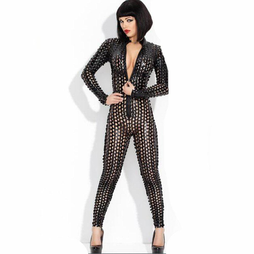 bff8d5d69aac Outfits Women s Hollow Out Playsuit Faux Leather Stripper Costume Fancy  Dress Catsuit