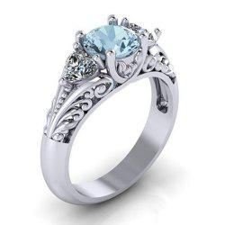 Sterling Silver Round Cut Aquamarine Floral Engagement Promise Ring -