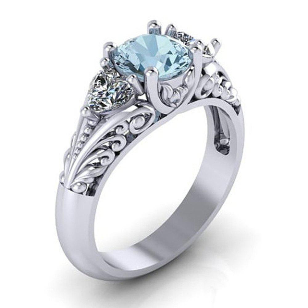 Trendy Sterling Silver Round Cut Aquamarine Floral Engagement Promise Ring
