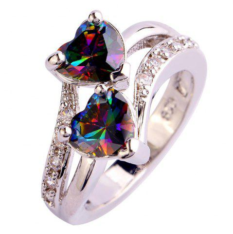 rainbow ret silver zircon ring multi jewelry rings engagement colour crystal wholesale sterling weinuo