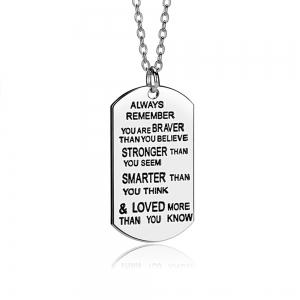 New arrived dog tag Always Remember You Are Braver Pendant Inspirational Necklace New Jewelry Gifts (Color: Silver) -