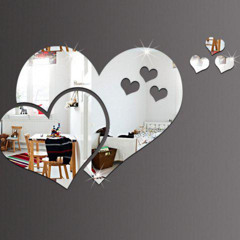 Fancy PMMA Hearts Shape Diy Mirror Wall Stickers Home Wall Decoration 5pcs