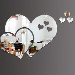 PMMA Hearts Shape Diy Mirror Wall Stickers Home Wall Decoration 5pcs -