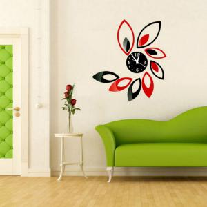 3D Acrylic Hanging Clock with Lotus Shaped Diy Mirror Wall Stickers -