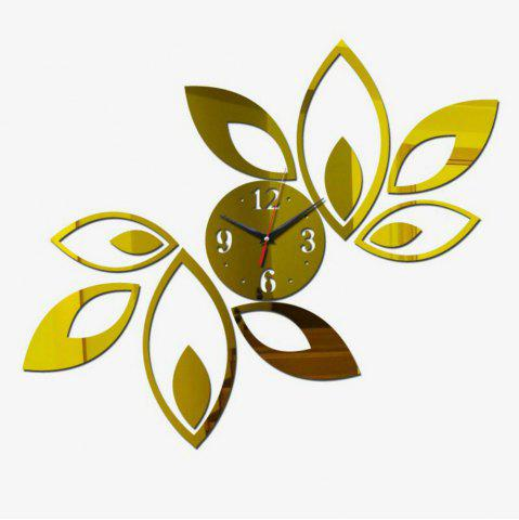 Shop 3D Acrylic Hanging Clock with Lotus Shaped Diy Mirror Wall Stickers