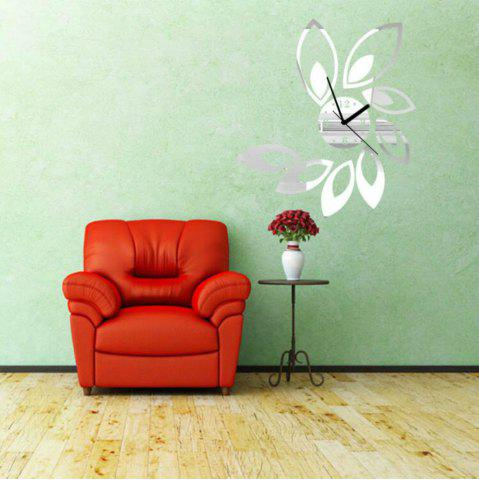 Outfits 3D Acrylic Hanging Clock with Lotus Shaped Diy Mirror Wall Stickers
