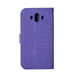 Wkae Solid Color Premium Jeans Cloth Texture Leather Pouch Case for Huawei Mate 10 -