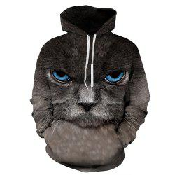 Men's Hoodie 3D Black Cat Pattern Plus Size Long Sleeve Casual Stylish Outdoor -