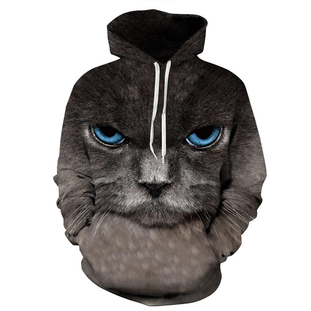 Hot Men's Hoodie 3D Black Cat Pattern Plus Size Long Sleeve Casual Stylish Outdoor