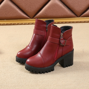 Cotton Warm Side Zipper Pure Colorl High Heeled Round Head Knights Boots -