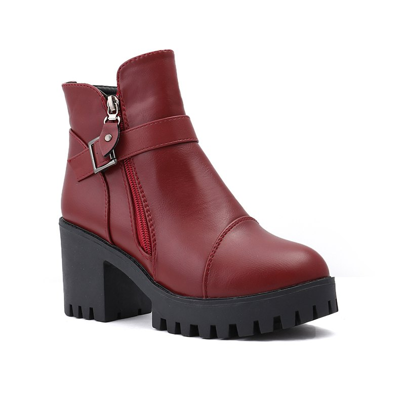Affordable Cotton Warm Side Zipper Pure Colorl High Heeled Round Head Knights Boots