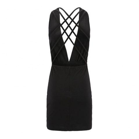 Best Sexy Deep V-Neck Back Cross Dress Jumpsuit
