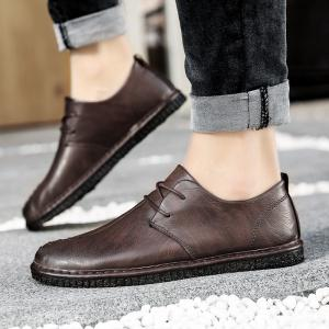 Men Casual Trend for Fashion Lace Up Leather Flat Outdoor Shoes -