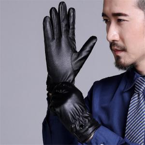 Men Fashion Pu Leather Gloves Touch Screen Winter Warm Gloves -