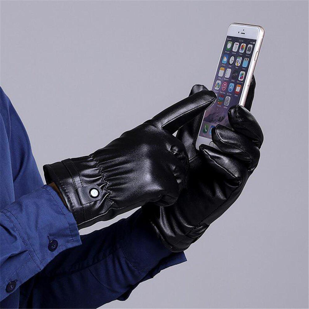Store Men Fashion Pu Leather Gloves Touch Screen Winter Warm Gloves