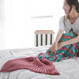 The New Product Knitted Wave Pattern Design Mermaid Tail Blanket -