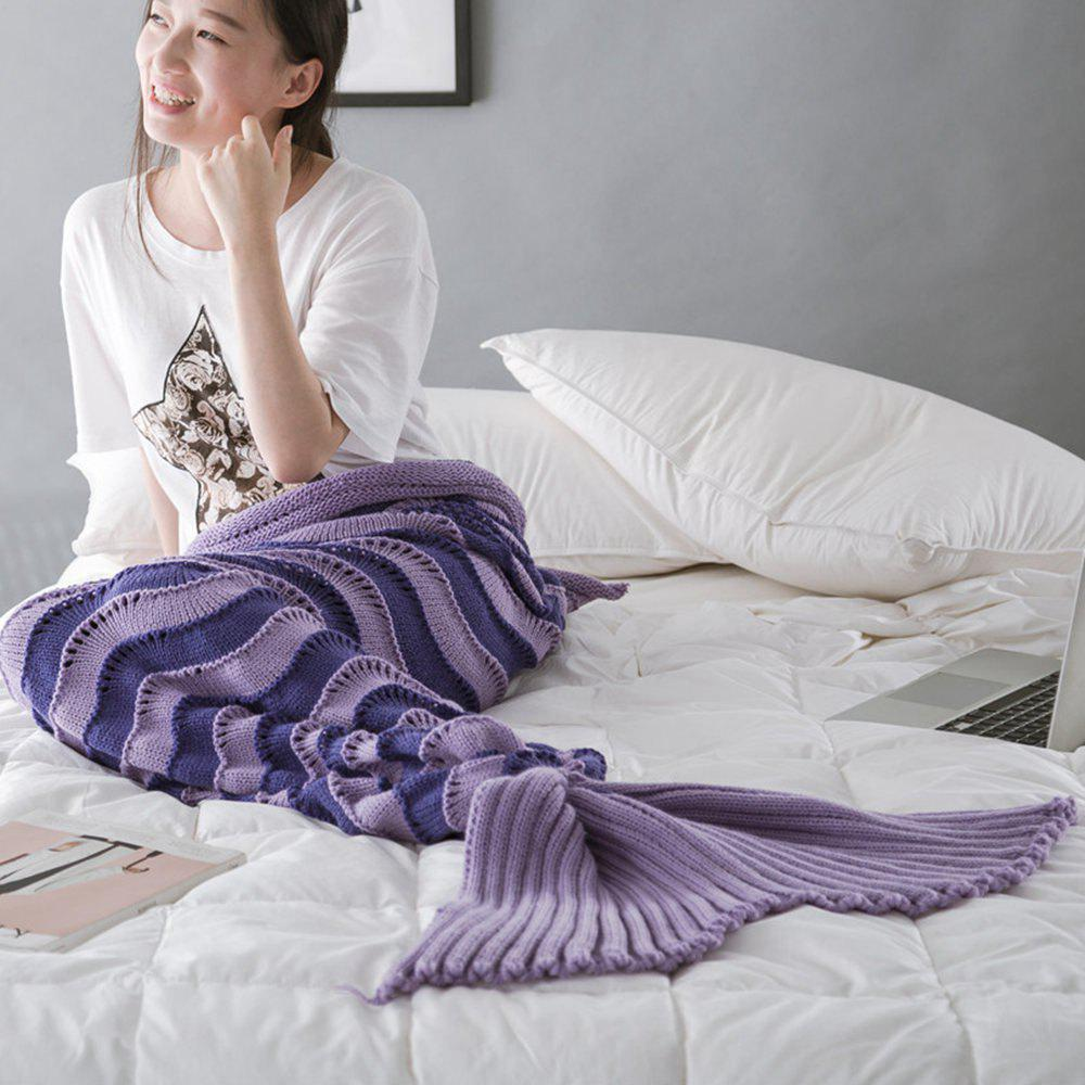 Shop The New Product Knitted Wave Pattern Design Mermaid Tail Blanket