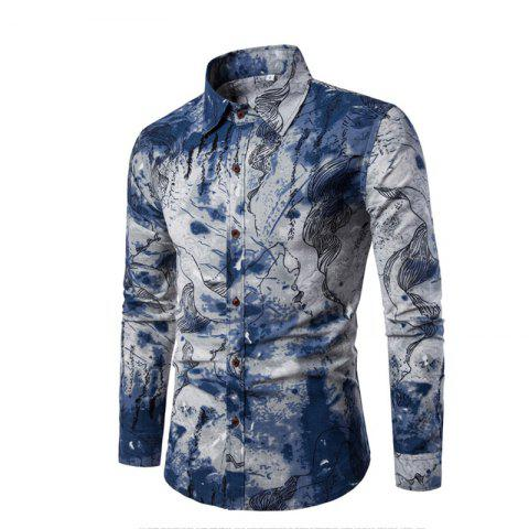 Affordable Men Long-Sleeved Printed Shirts Plus Sizes