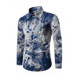 Men Long-Sleeved Printed Shirts Plus Sizes -