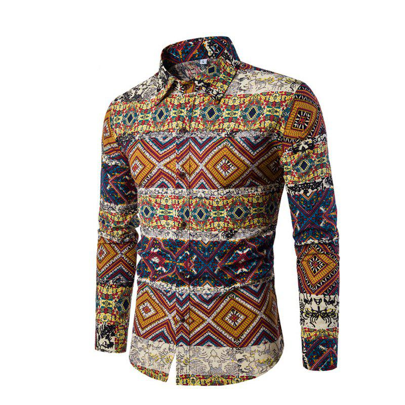 New Men Long-Sleeved Printed Shirts Plus Sizes