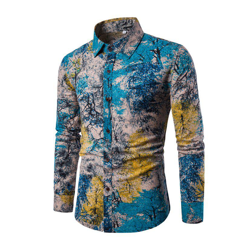 Fancy Man'S Long Sleeve Digital Print Shirt Plus Sizes