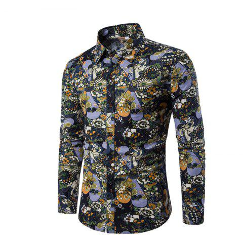 Trendy Men'S English Style Long-Sleeve Digital Printed Shirt Plus Sizes