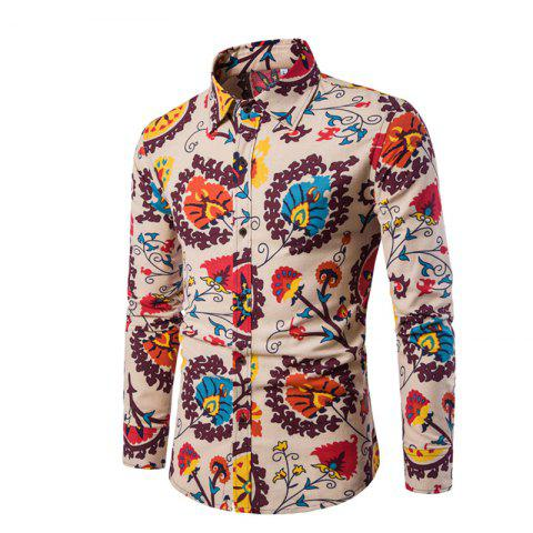 Best Men'S English Style Long-Sleeve Digital Printed Shirt Plus Sizes