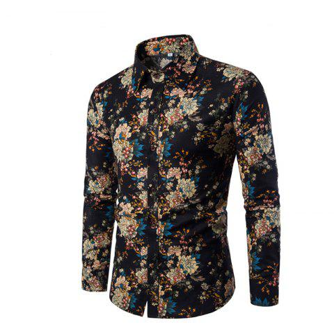 Outfit Men'S English Style Long-Sleeve Digital Printed Shirt Plus Sizes